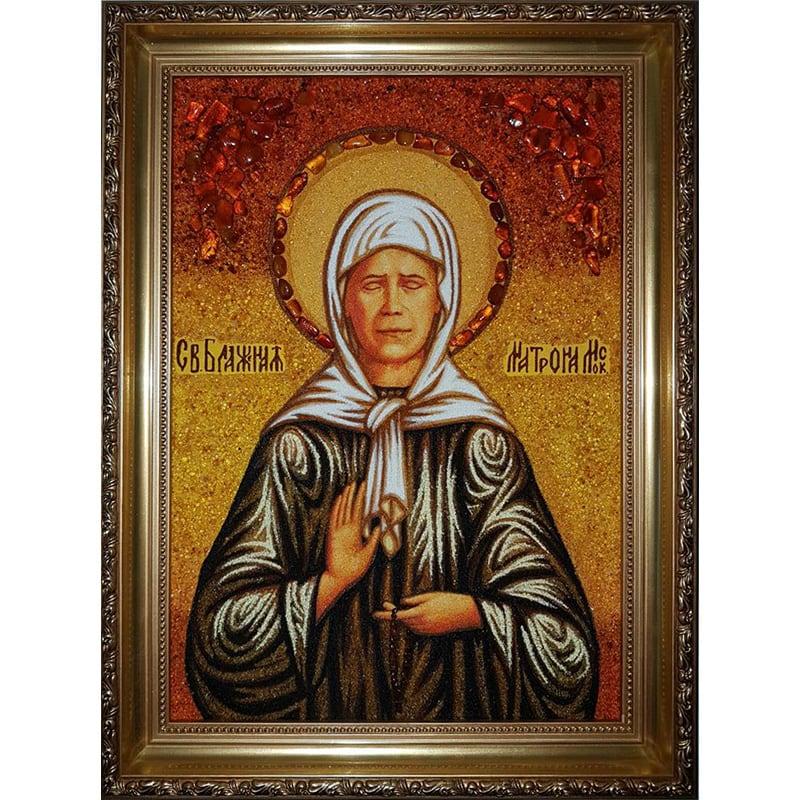 Икона именная из янтаря Св. Матрона Московская