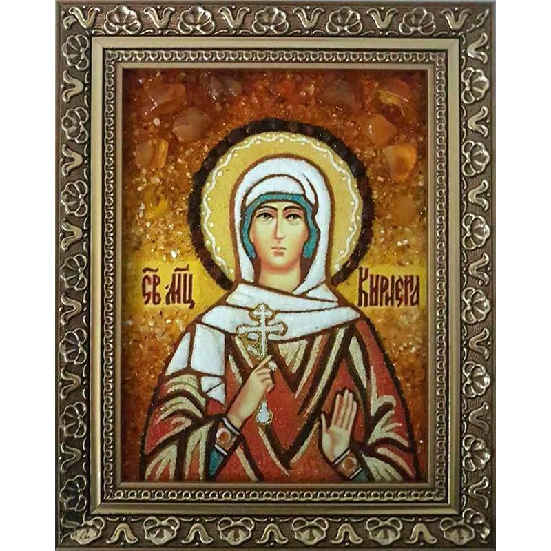 Икона именная handmade из янтаря Св. Мученица Кириена