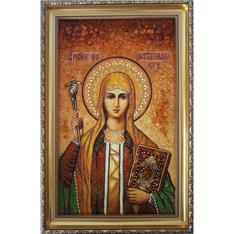 Именная икона handmade из янтаря Св. Нина