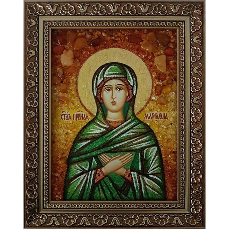 Именная икона из янтаря Св. Праведная Мириамна