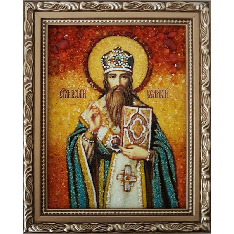 Именная икона в янтаре Святитель Василий Великий
