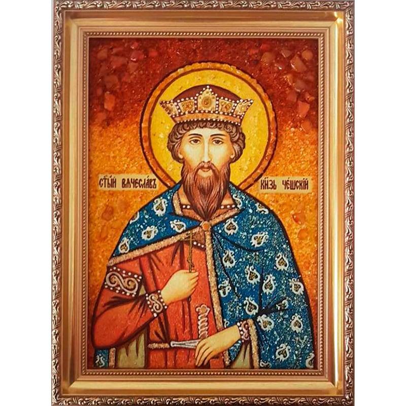 Икона handmade из янтаря Святой Вячеслав Чешский