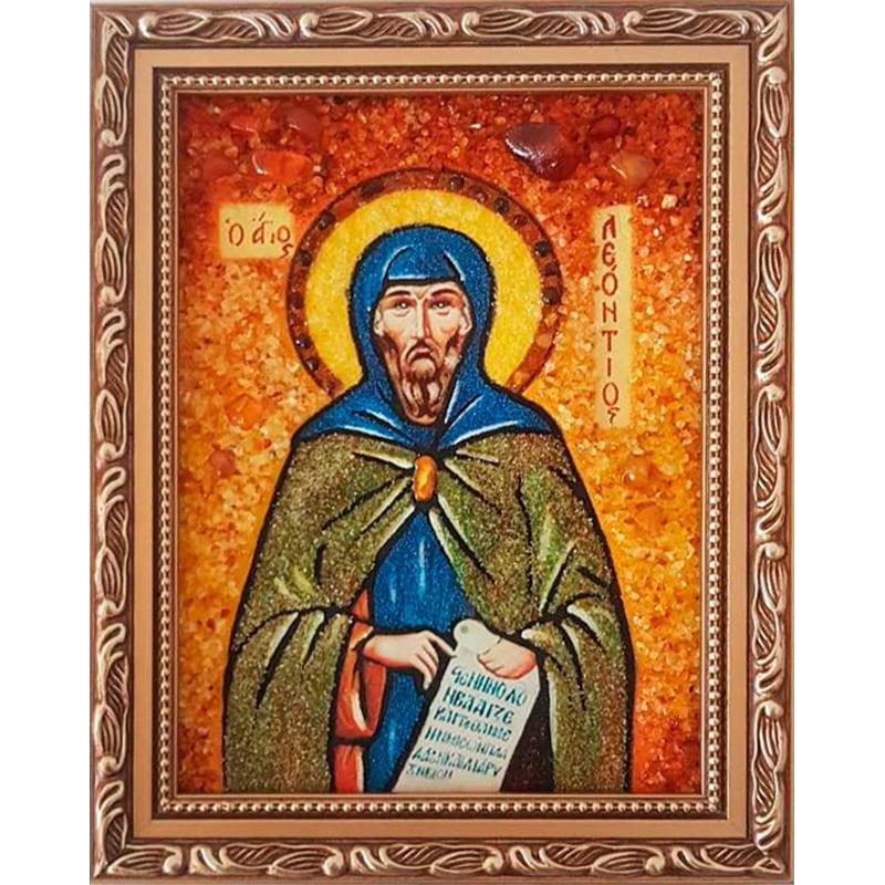 Икона handmade в янтаре Святой Леонтий