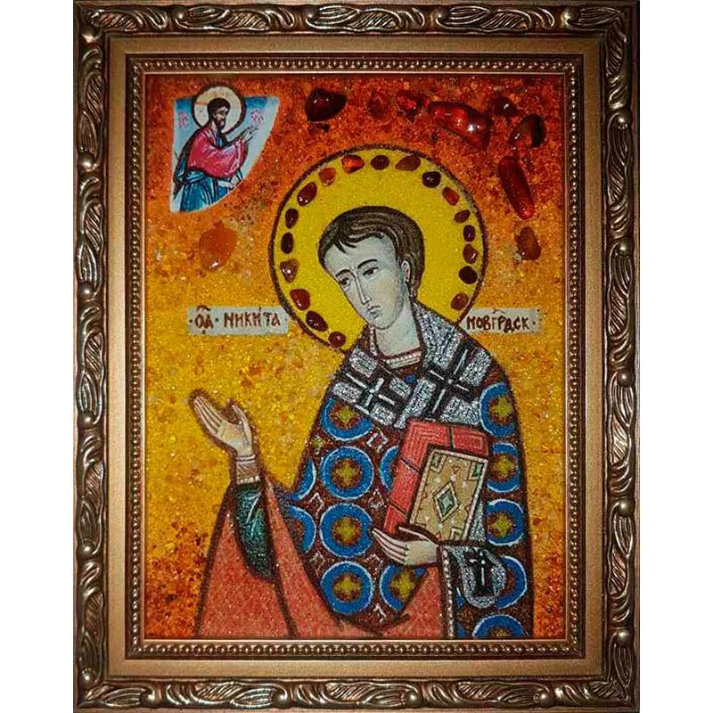 Іменна ікона з янтаря Святий Микита Новгородський