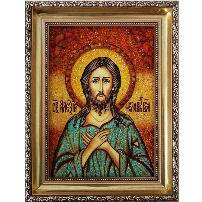 Икона именная из янтаря Святой Алексий