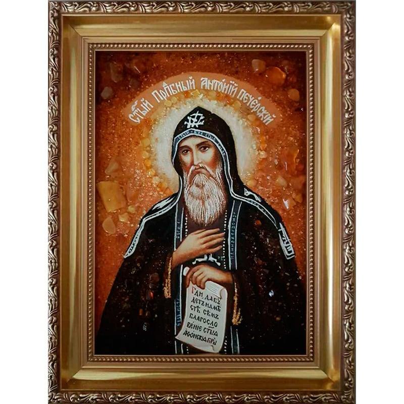 Іменна ікона в бурштині Св. Антоній Печерський