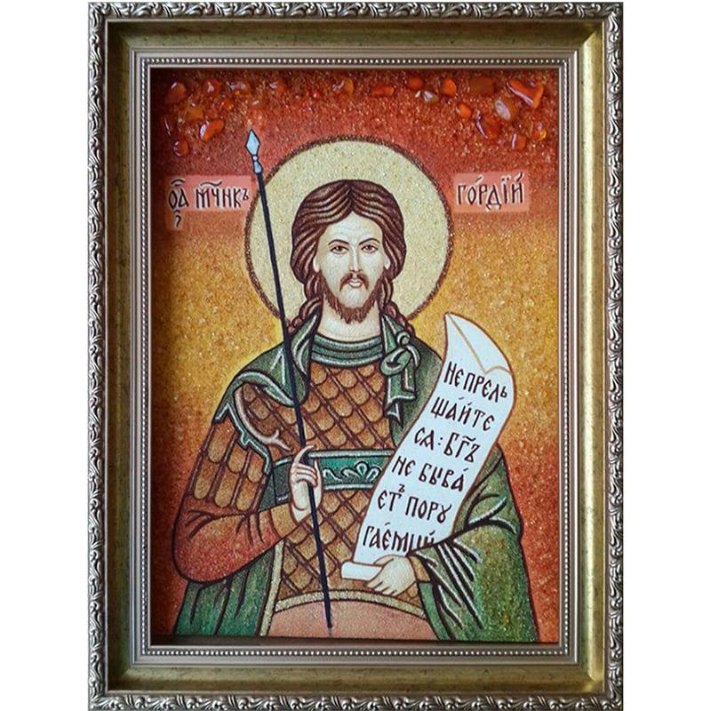 Икона из янтаря на заказ Св. Мученик Гордий