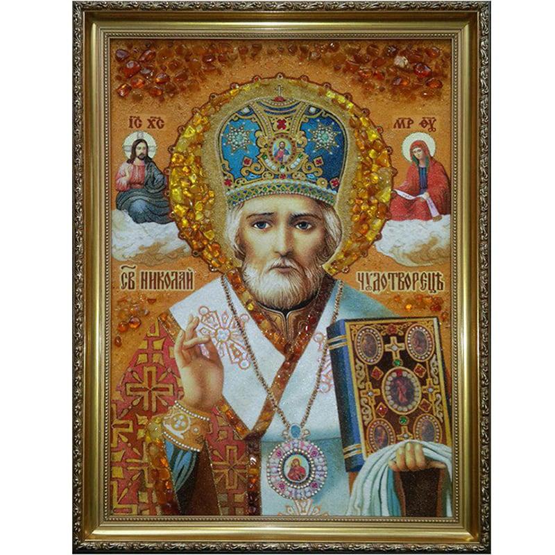 Именная икона в янтаре Святой Николай