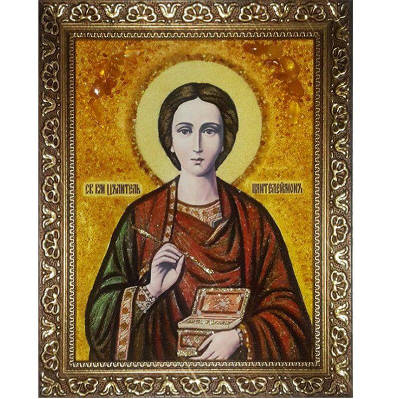 Авторская икона из янтаря Св. Пантелеймон Целитель