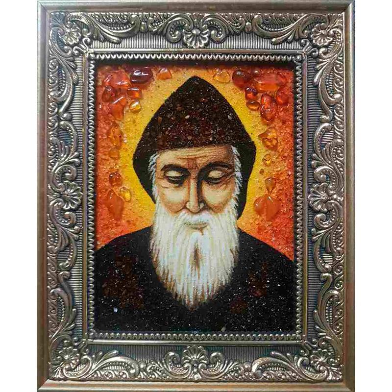Ікона в бурштині ручної роботи Святий Шарбель