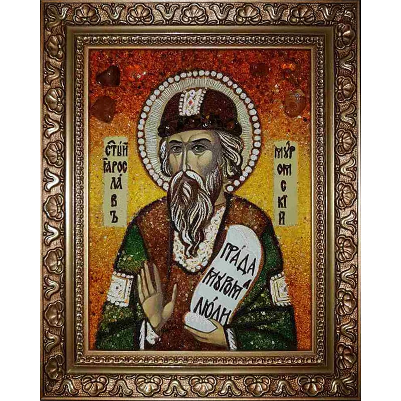 Икона handmade из янтаря Св. Ярослав Муромский