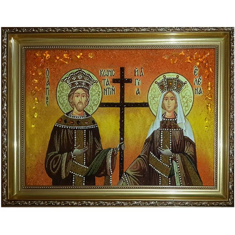 Икона handmade в янтаре Св. Равноапостольные Елена и Констрантин