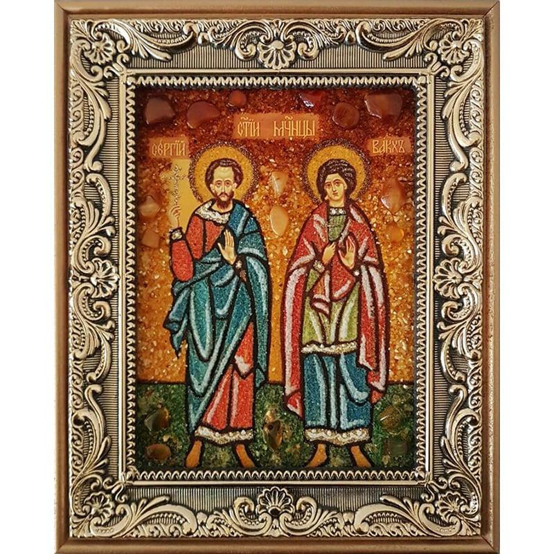 Именная икона из янтаря Святые Сергий и Вакх
