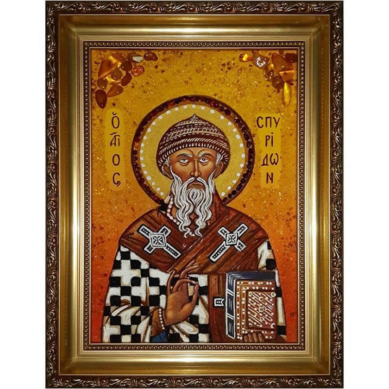Именная икона в янтаре Св. Спиридон