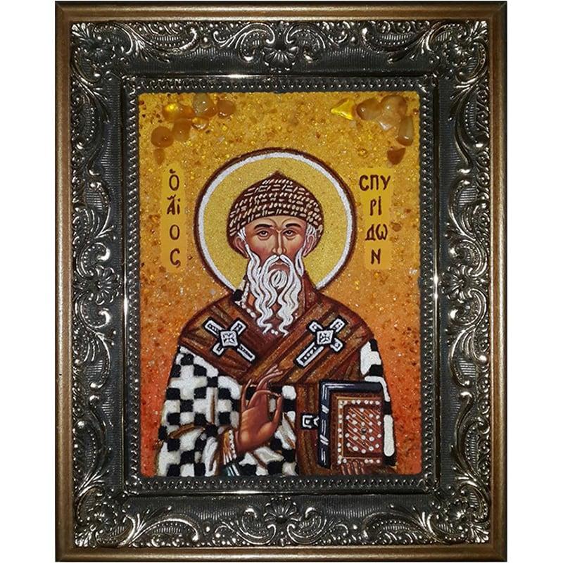 Именная икона из янтаря handmade Святой Спиридон