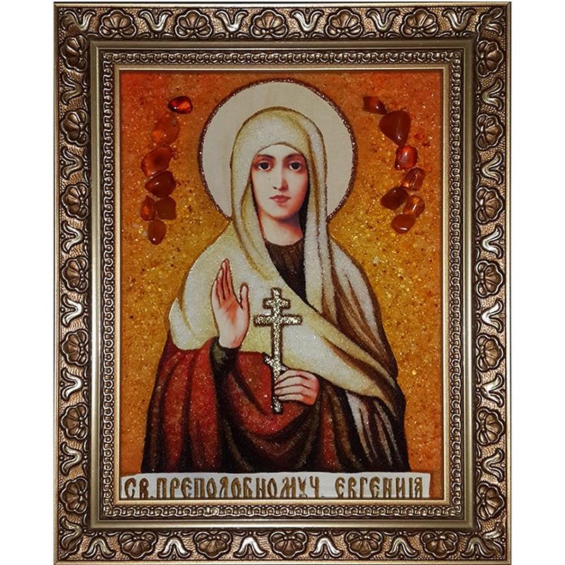 Икона именная в янтаре handmade Святая Эвгения