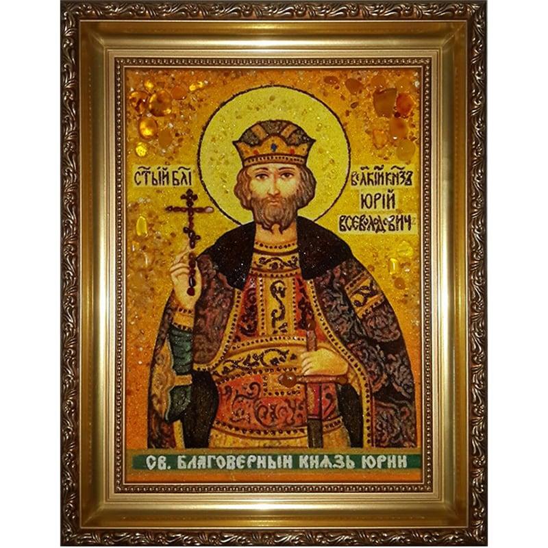 Икона именная из янтаря handmade Святой Юрий