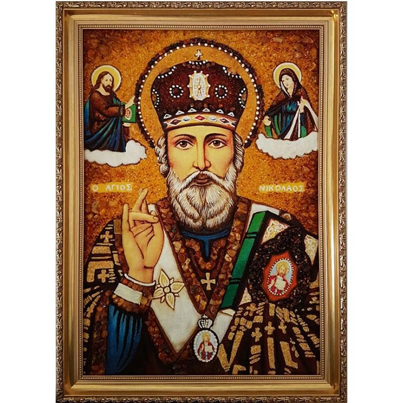 Іменна ікона в бурштині handmade Миколай Чудотворець Угодник