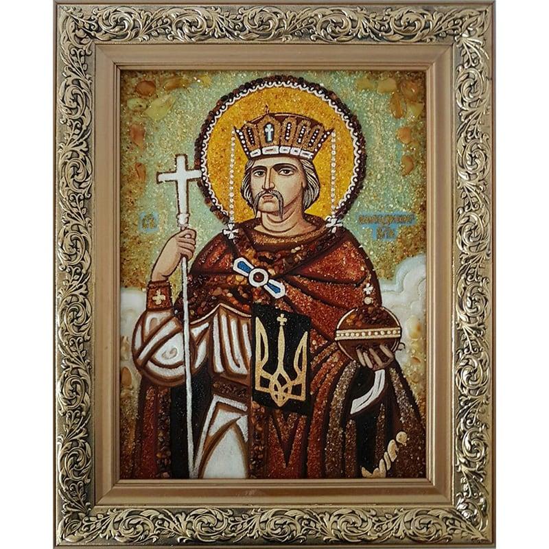 Авторская икона из янтаря Святой князь Владимир