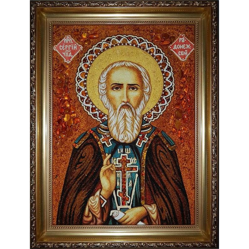 Именная икона из янтаря handmade Преподобный Сергий Радонежский