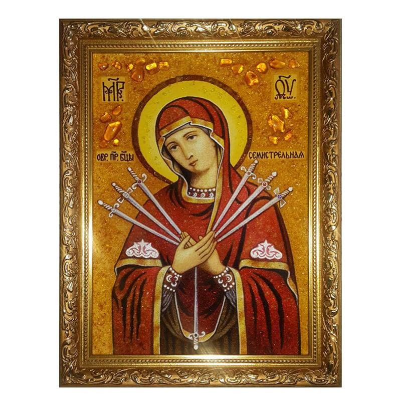 Ікона Бурштин Пресвята Богородиця Семистрільна