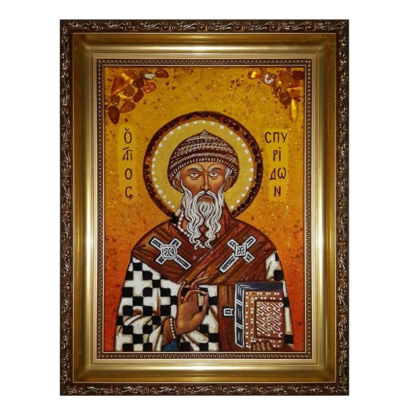 Икона из янтаря Святой Спиридон Тримифунтский